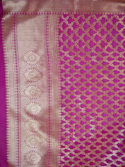 Banarasee Art Silk Dupatta With Gold Zari Jaal Design-Magenta