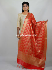 Banarasee Art Silk Dupatta With Gold Zari Jaal Design-Red
