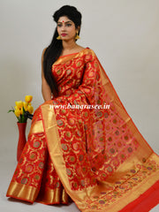 Banarasee Faux Georgette Saree With Meena Floral Jaal Work-Scarlet Red