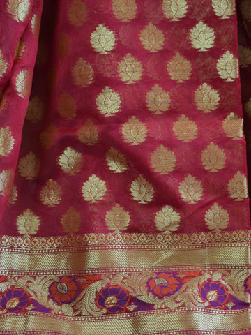 Banarasee Cotton Silk Mix Saree with Zari Paithani Border-Deep Red