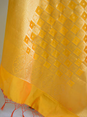 Banarasee Art Silk Dupatta With Gold Zari Jaal Design-Yellow