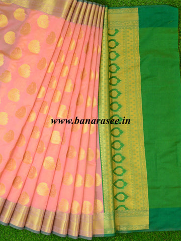 Banarasee Art Silk Saree With Buta Design-Peach