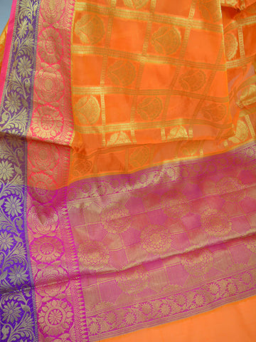 Banarasee Cotton Silk Mix Saree With Check Pattern & Zari Buti-Orange
