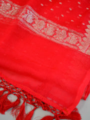 Banarasee Handwoven Pure Chiffon Dupatta Buti Design In Silver Zari-Red