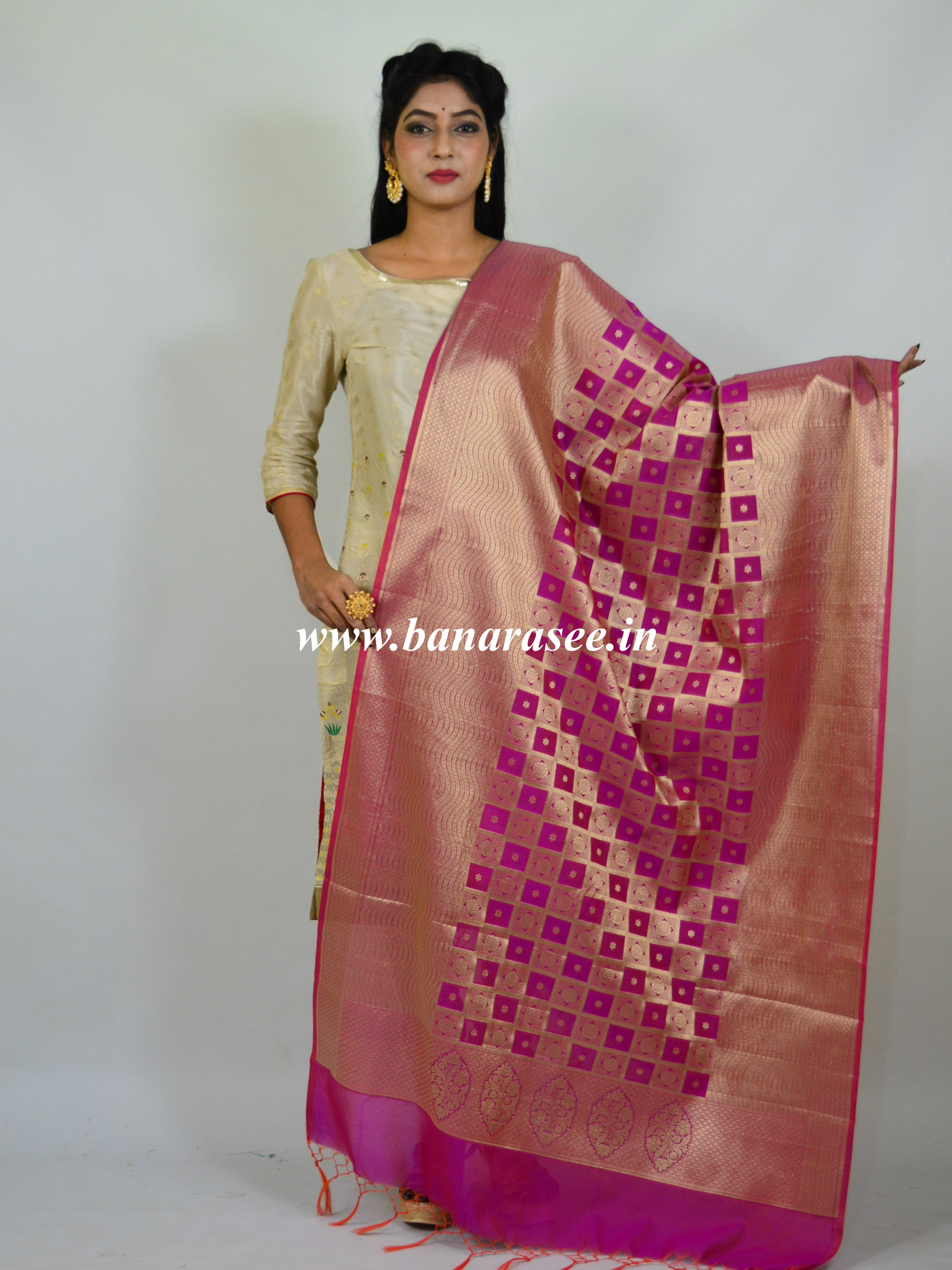 Banarasee Art Silk Dupatta With Gold Zari Jaal Design-Purple