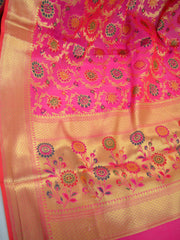 Banarasee Faux Georgette Saree With Meena Floral Jaal Work-Hot Pink