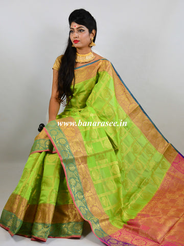 Banarasee Cotton Silk Mix Saree With Check Pattern & Zari Buti-Green