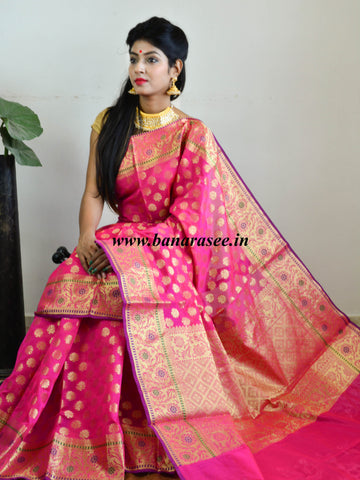 Banarasee Cotton Silk Mix Saree with Zari Paithani Border-Hot Pink