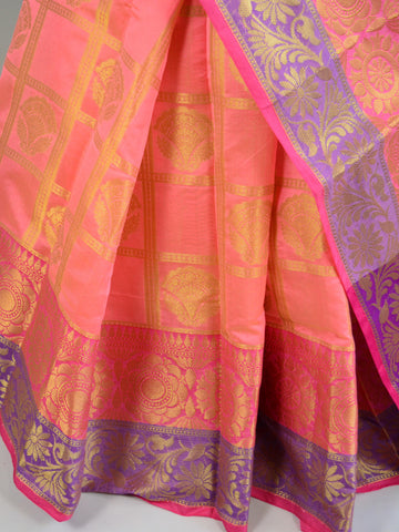 Banarasee Cotton Silk Mix Saree With Check Pattern & Zari Buti-Peach