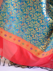 Banarasee Art Silk Dupatta With Heavy Jaal & Contrast Pallu-Rama Green