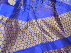 Banarasee Handwoven Net Floral Border Saree-Royal Blue