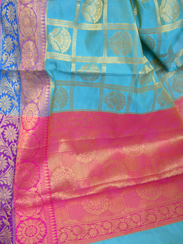 Banarasee Cotton Silk Mix Saree With Check Pattern & Zari Buti-Sky Blue