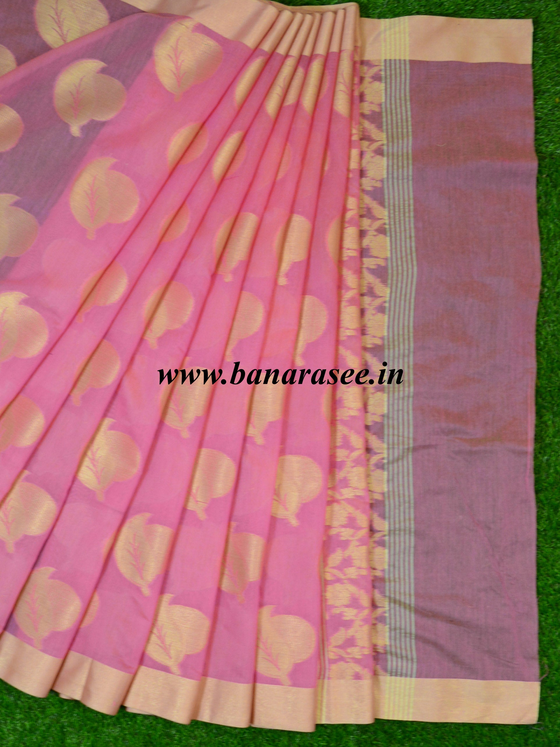 Banarasee Cotton Silk Zari Border & Buta Saree-Pink