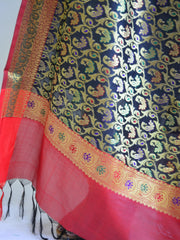 Banarasee Art Silk Dupatta With Heavy Jaal & Contrast Pallu-Black