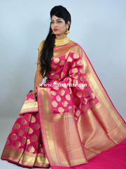 Banarasee Handwoven Art Silk Floral Buti Saree-Hot Pink