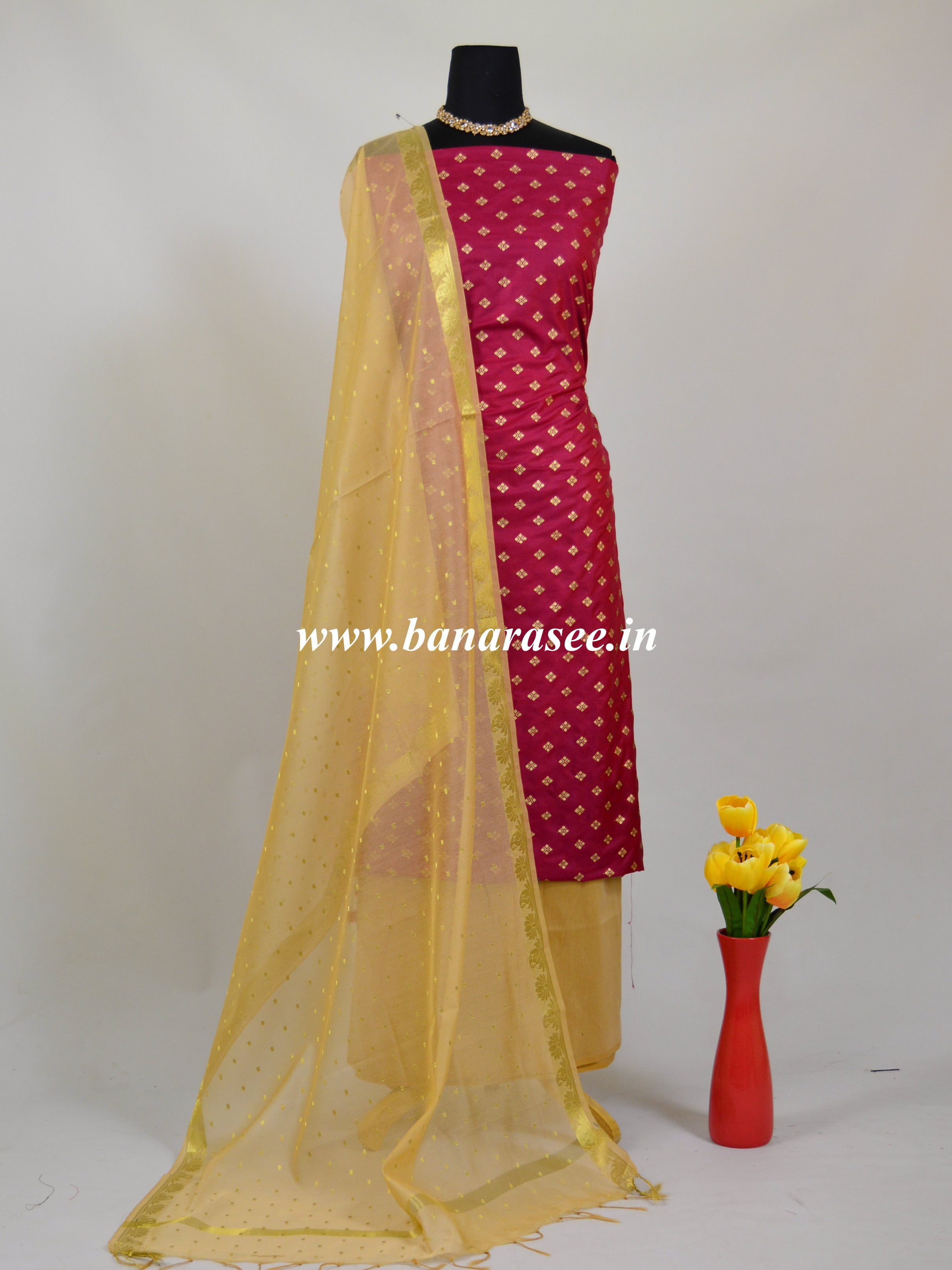 Banarasee Semi Silk Salwar Kameez Fabric With Gold Dupatta-Wine