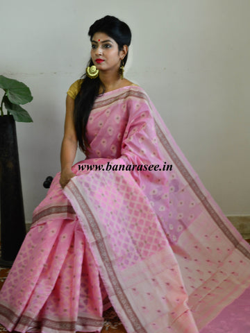Banarasee Soft Cotton Saree With Resham & Ghicha Border-Rose Pink