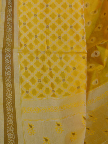 Banarasee Soft Cotton Saree With Resham & Ghicha Border-Bright Yellow