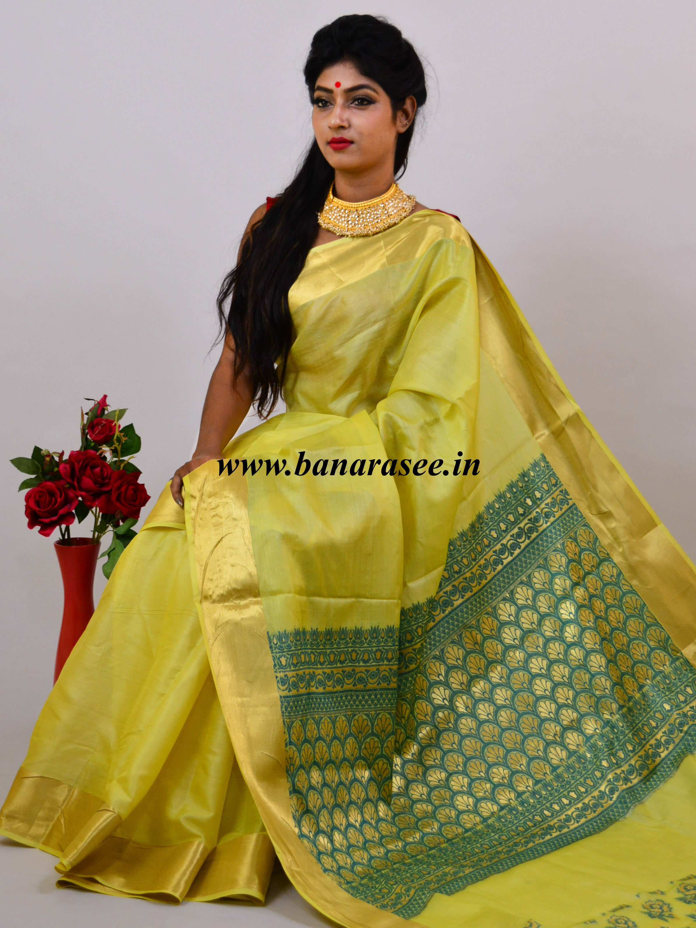 Banarasee Handwoven Pure Tussar Silk Sari With Gold Border-Bright Yellow