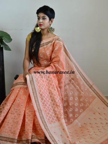 Banarasee Soft Cotton Saree With Resham & Ghicha Border-Peach