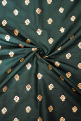 Banarasee Soft Semi Katan Silk Mini Gold Buti Design Fabric-Deep Green