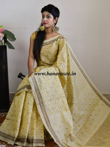 Banarasee Soft Cotton Saree With Resham & Ghicha Border-Beige