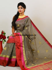 Banarasee Handloom Soft Cotton Checks Design Saree With Satin Border-White & Black