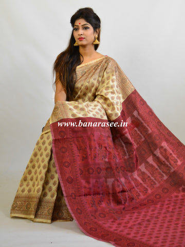Banarasee Art Silk Saree With Floral Woven Design & Contrast Maroon Pallu-Beige