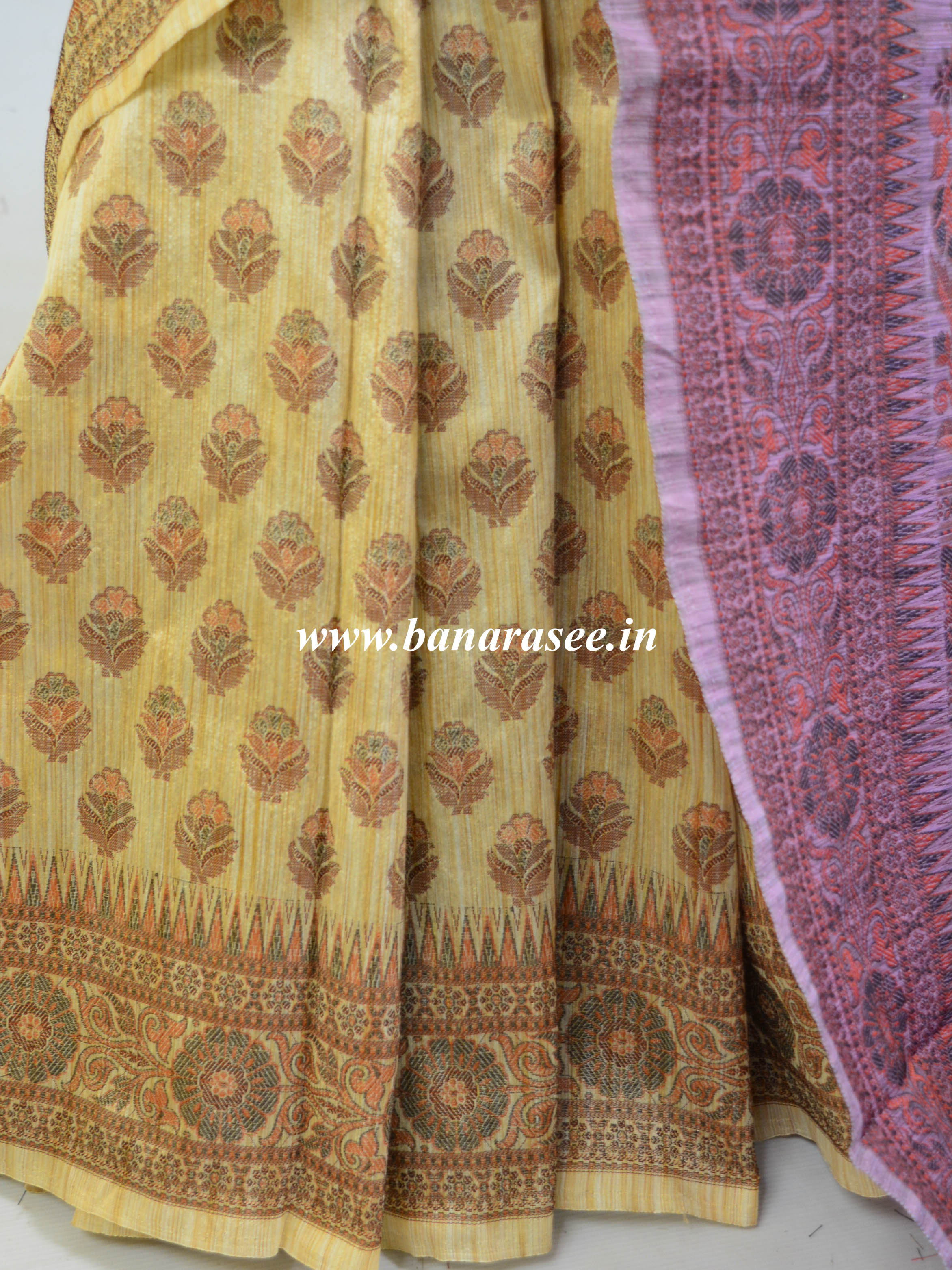 Banarasee Art Silk Saree With Floral Woven Design & Contrast Plum Pallu-Beige