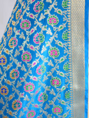 Banarasee Art Silk Dupatta With Multicolor Floral Jaal Design-Turquoise Blue