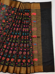 Banarasee Cotton Silk Mix Saree With Resham Woven Jaal & Antique Zari-Black