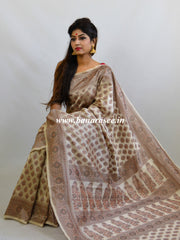 Banarasee Art Silk Saree With Floral Woven Design-Beige
