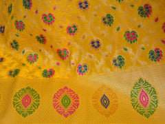 Banarasee Art Silk Dupatta With Multicolor Floral Jaal Design-Yellow