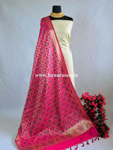 Banarasee Art Silk Dupatta With Multicolor Floral Jaal Design-Hot Pink