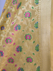 Banarasee Art Silk Dupatta With Multicolor Floral Jaal Design-Beige