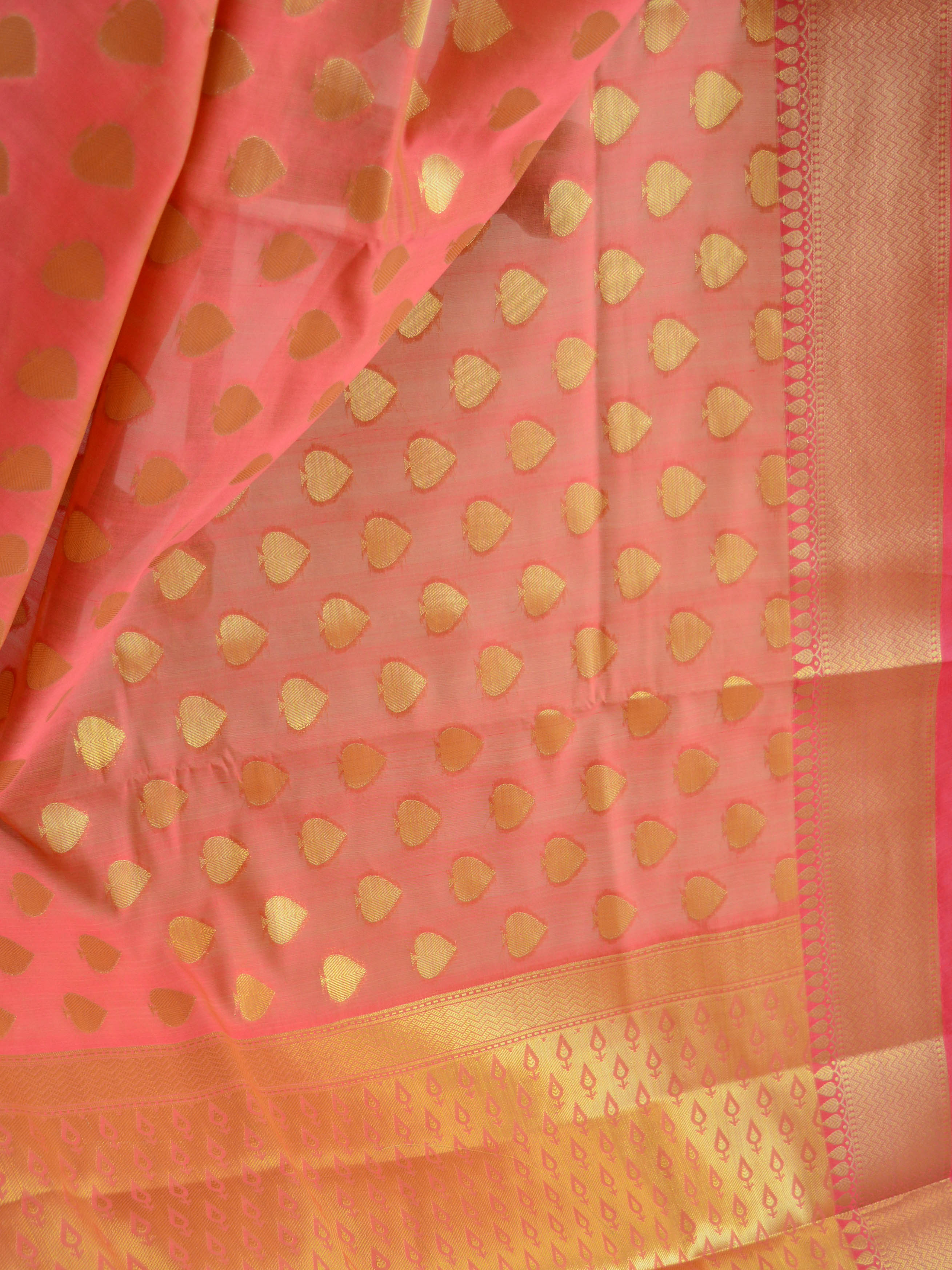 Banarasee Art Silk Saree with Zari Buti-Coral