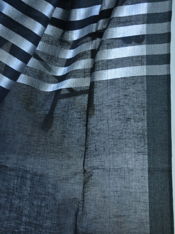 Banarasee Handloom Pure Linen Saree With Silver Stripes-Black