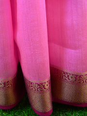 Banarasee Handwoven Pure Muga Silk Sari With Floral Border & Pallu-Pink