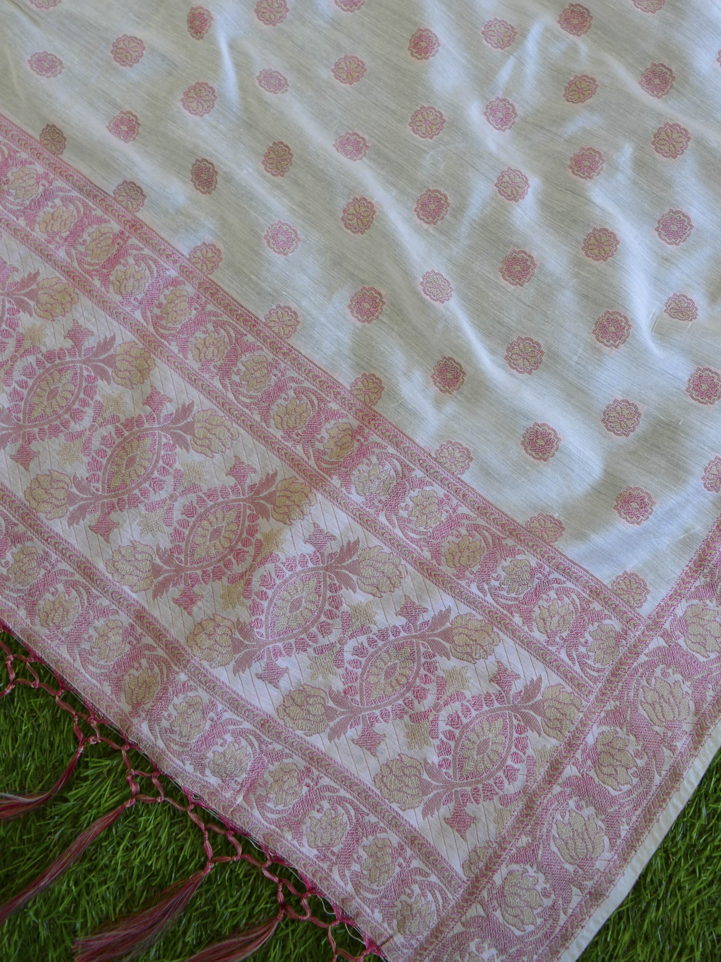 Banarasee Salwar Kameez Soft Cotton Silk Resham Woven Fabric With Paisley Design -Off White