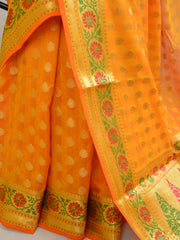 Banarasee Art Silk Saree with Zari Paithani Border-Yellow