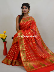 Banarasee Art Silk Saree with Zari Paithani Border-Red