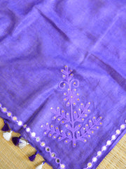Bhagalpur Linen Cotton Embroidered Dupatta-Violet