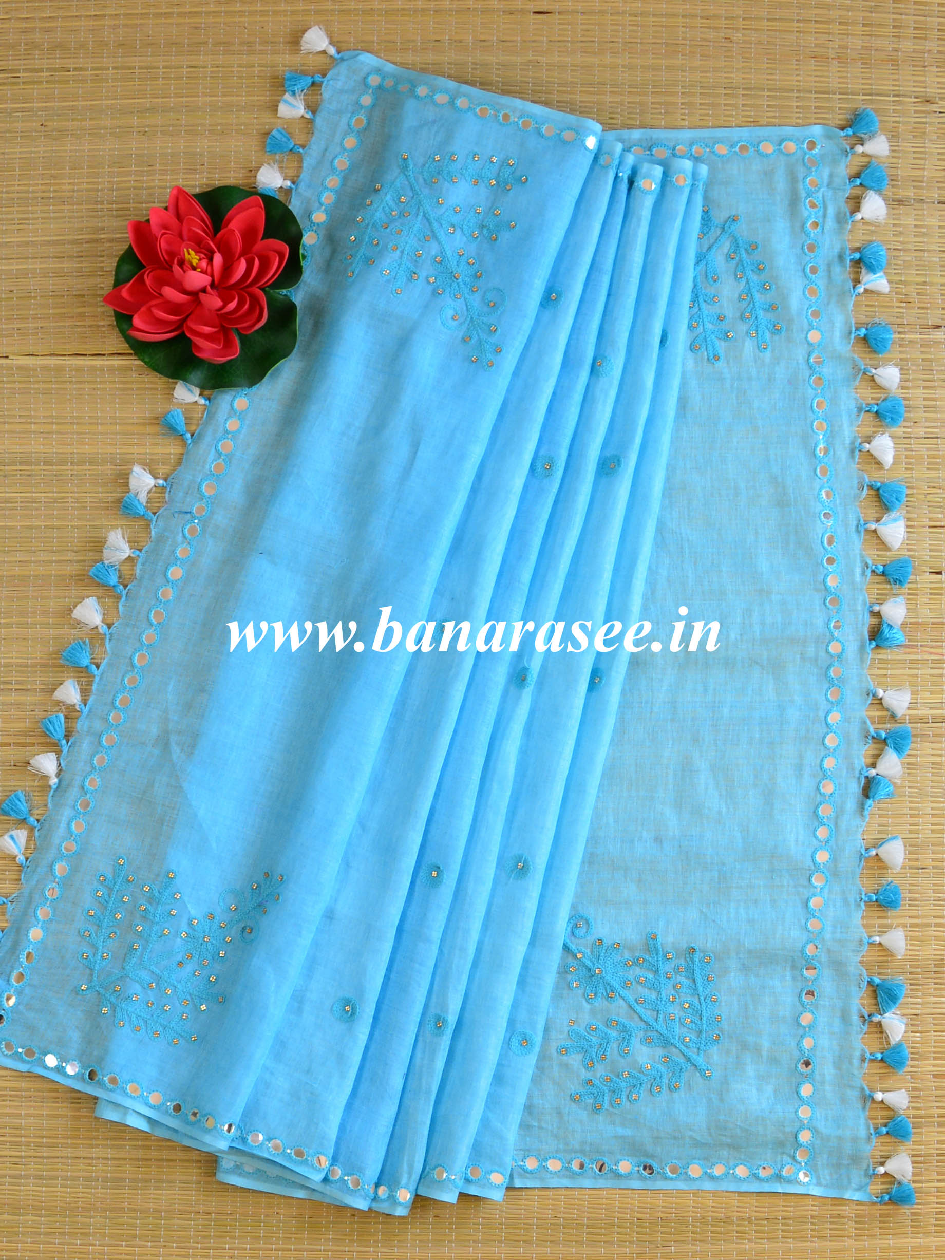 Bhagalpur Linen Cotton Embroidered Dupatta-Sky Blue