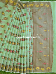 Banarasee Silk Cotton Saree With Resham & Ghichha Work Design-Henna Green