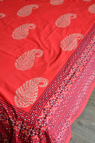 20x20 Cotton Handblock Printed King Size Bedsheet-Red