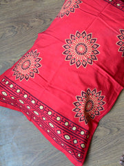20x20 Cotton Handblock Printed King Size Bedsheet-Indigo & Red