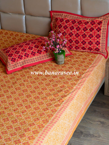 20x20 Cotton Handblock Printed King Size Bedsheet-Mustard & Red