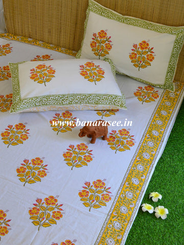 Cotton Handblock Printed Queen Size Bedsheet-White