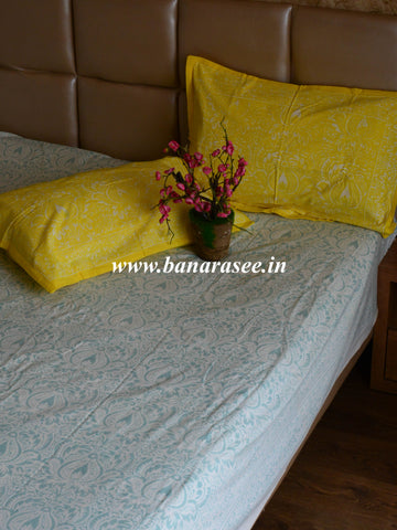 20x20 Cotton Handblock Printed King Size Bedsheet-White & Yellow