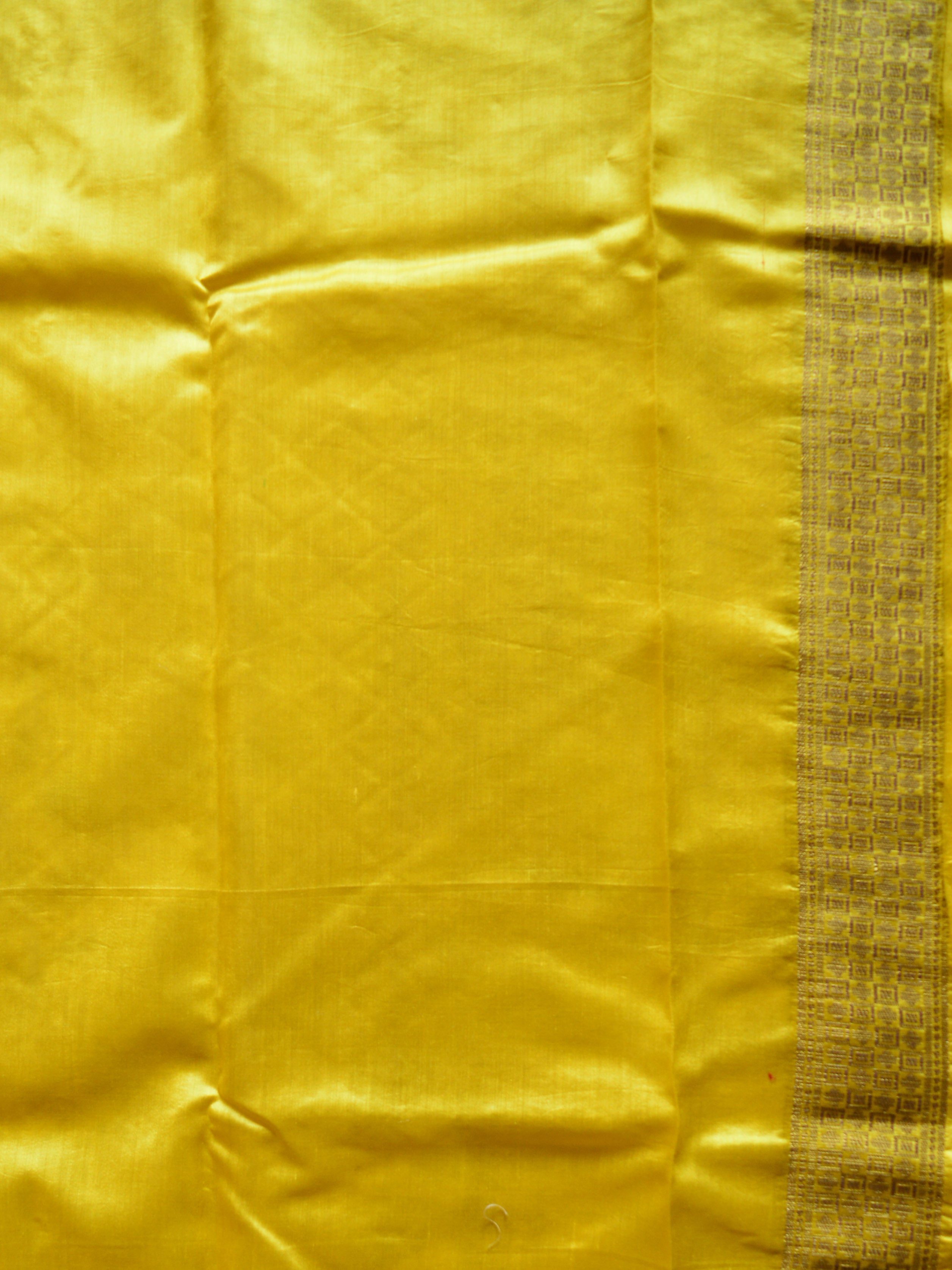 Banarasee Handloom Pure Dupion Silk Saree With Yellow Border & Pallu-Ivory White